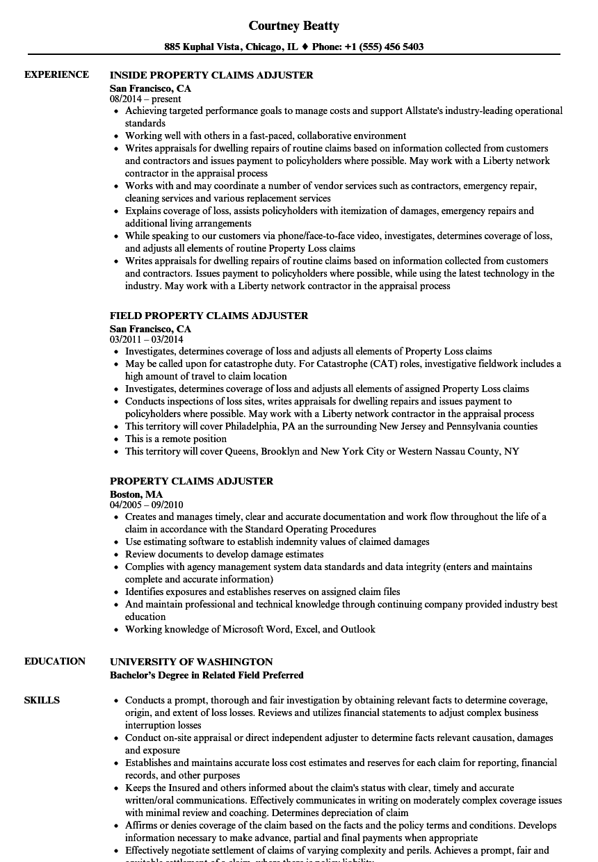download property claims adjuster resume sample as image file