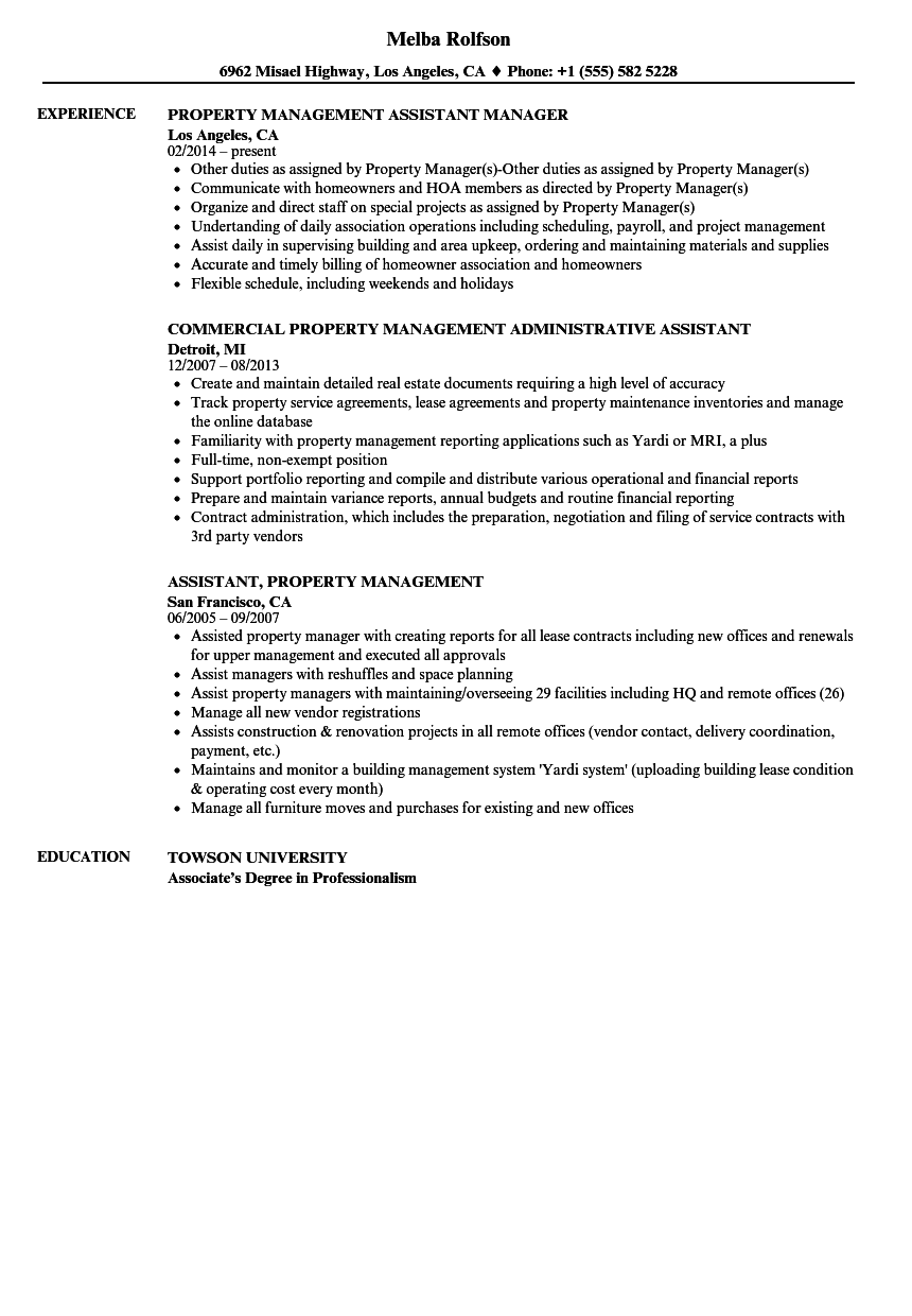 Property Management Assistant Resume Samples | Velvet Jobs