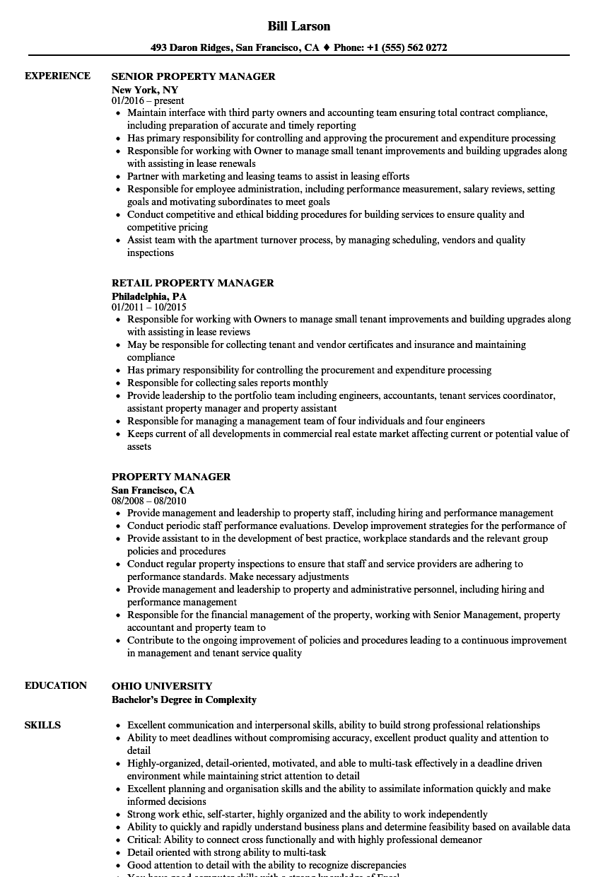 Property Manager Resume Samples | Velvet Jobs