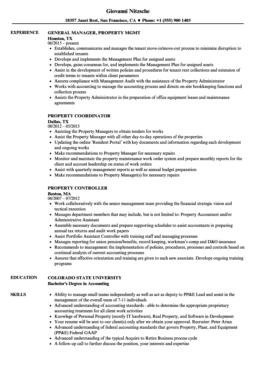 Property Resume Samples | Velvet Jobs