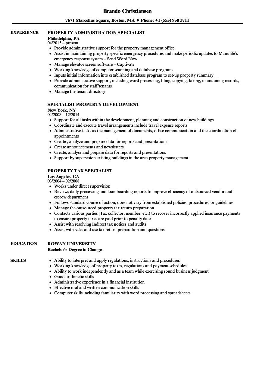 property specialist resume samples