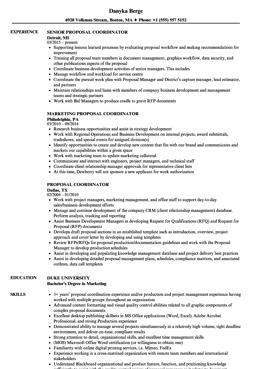 proposal coordinator resume samples