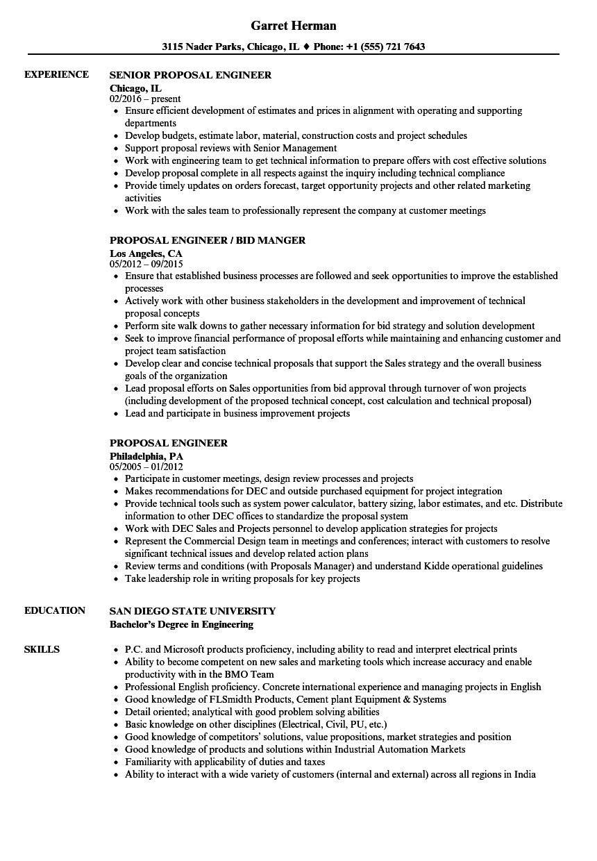 Engineering Proposal Sample | Proposal Engineer Resume Samples Velvet Jobs