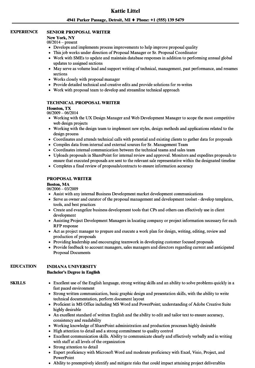 proposal writer resume samples