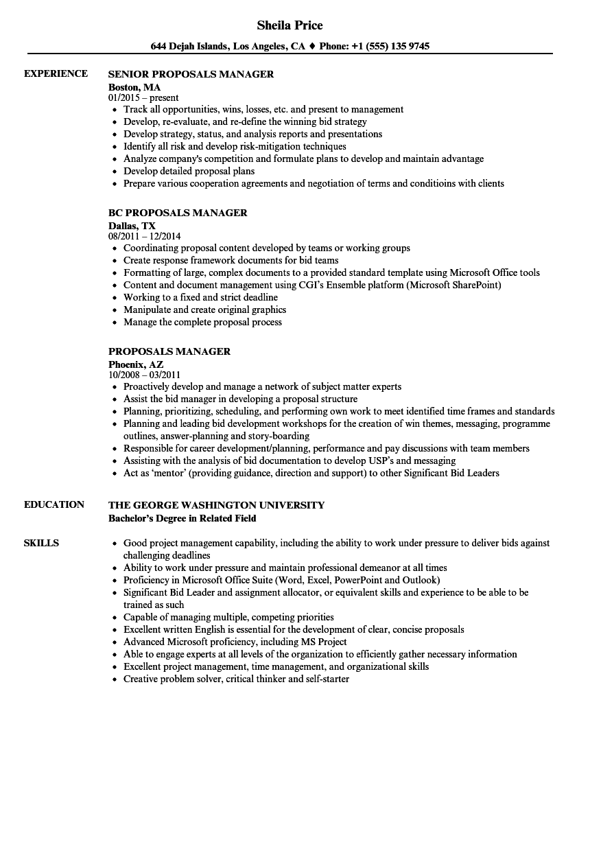 Proposals Manager Resume Samples Velvet Jobs