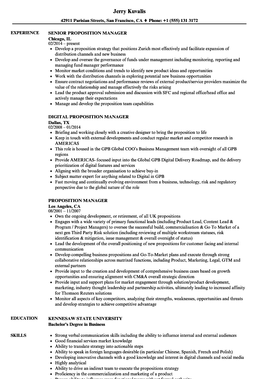 Proposition Manager Resume Samples | Velvet Jobs