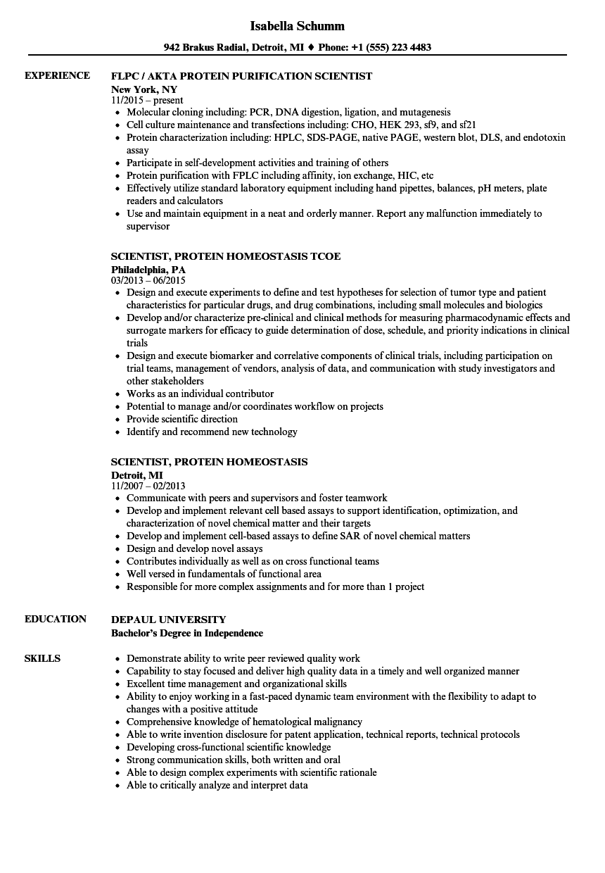 Protein Scientist Resume Samples Velvet Jobs