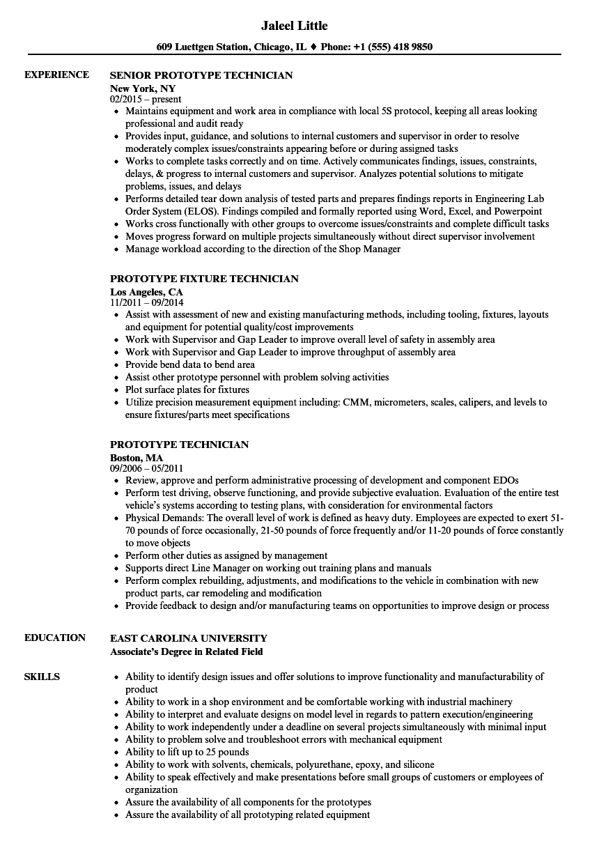 prototype technician resume samples