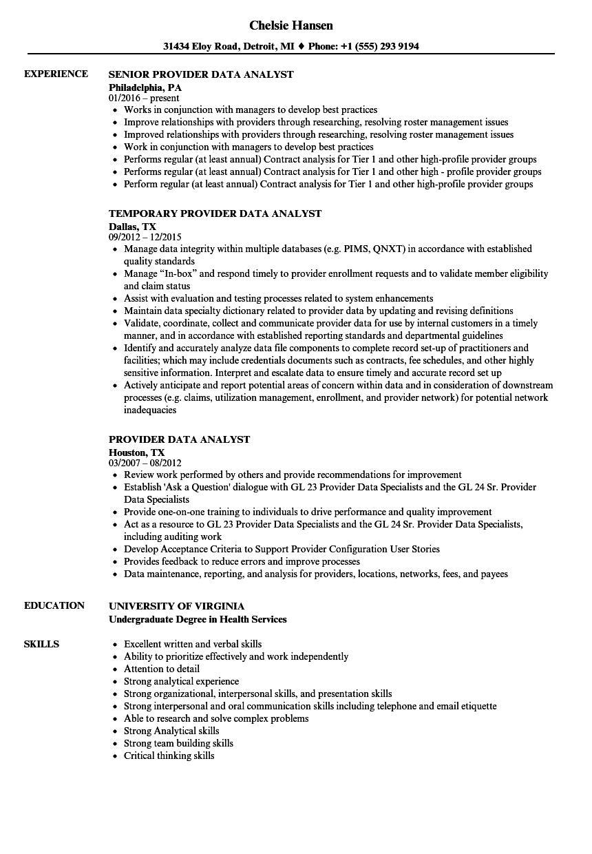 provider data analyst resume samples