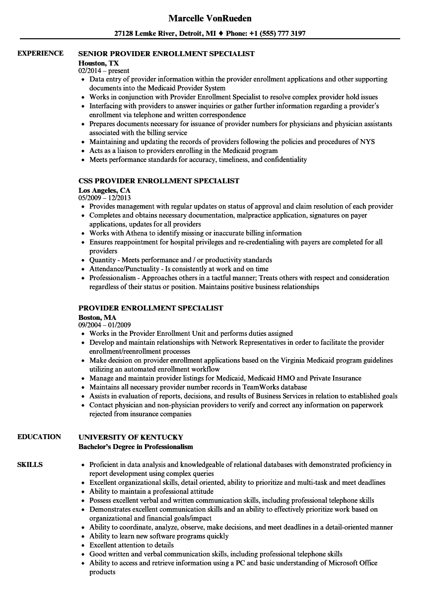 provider enrollment specialist resume samples