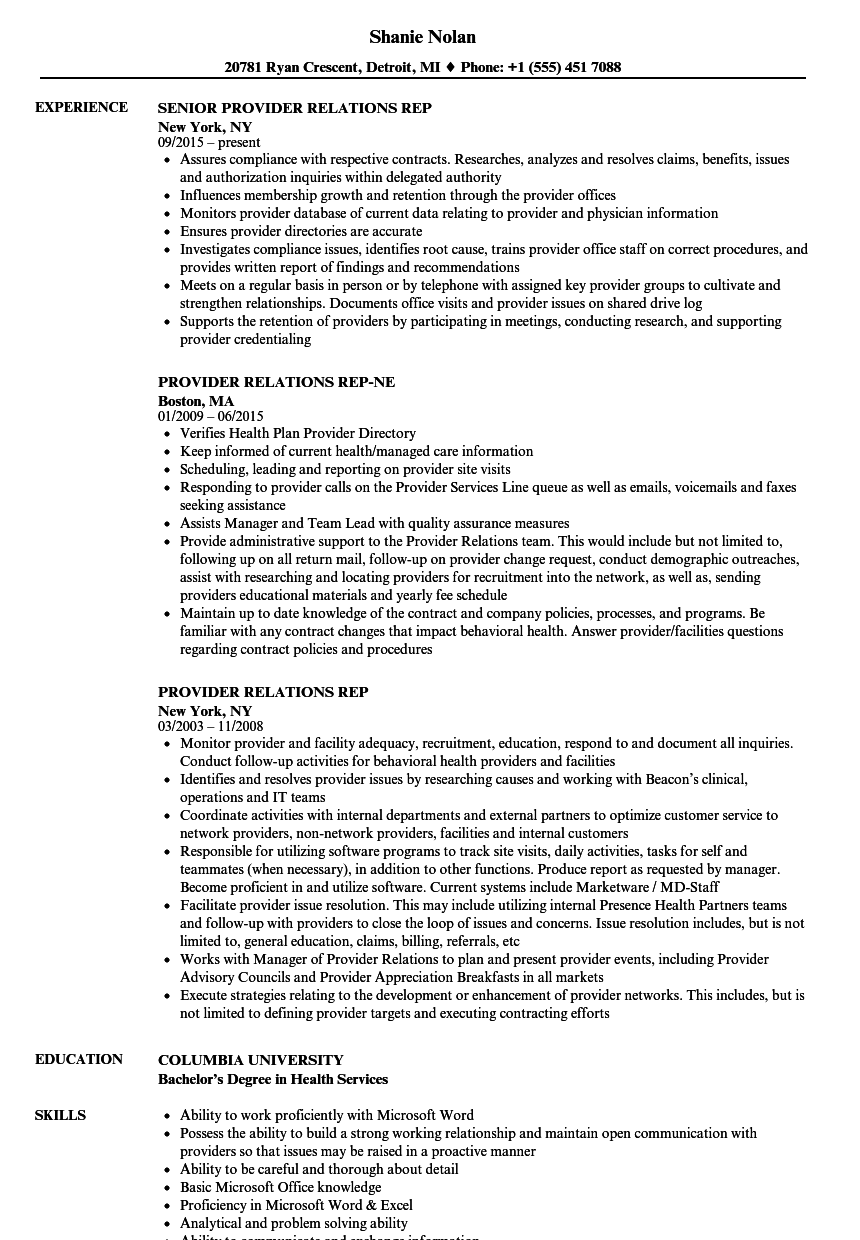 Provider Relations Rep Resume Samples Velvet Jobs
