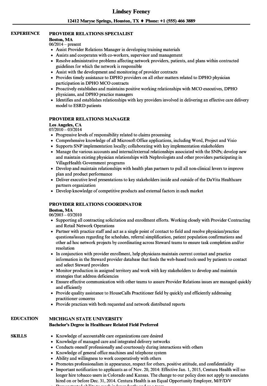 provider relations resume samples