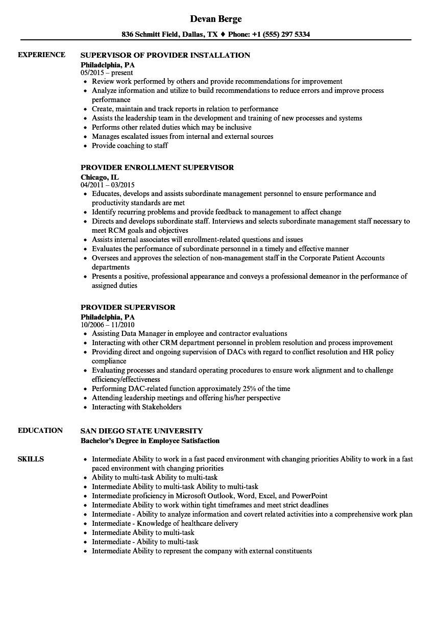 provider supervisor resume samples