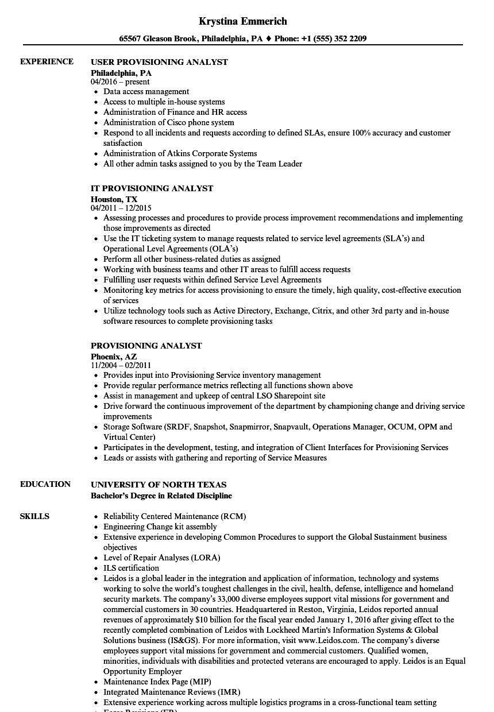 provisioning analyst resume samples