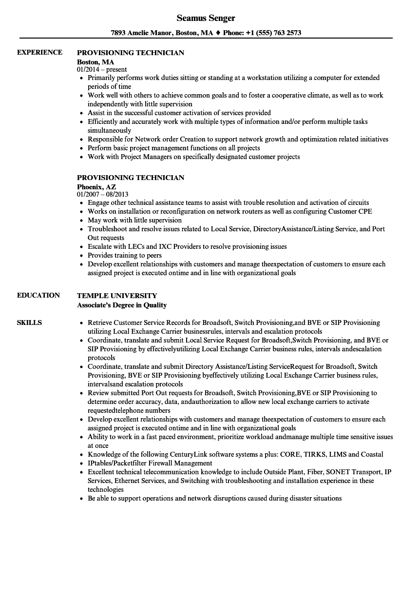 provisioning technician resume samples
