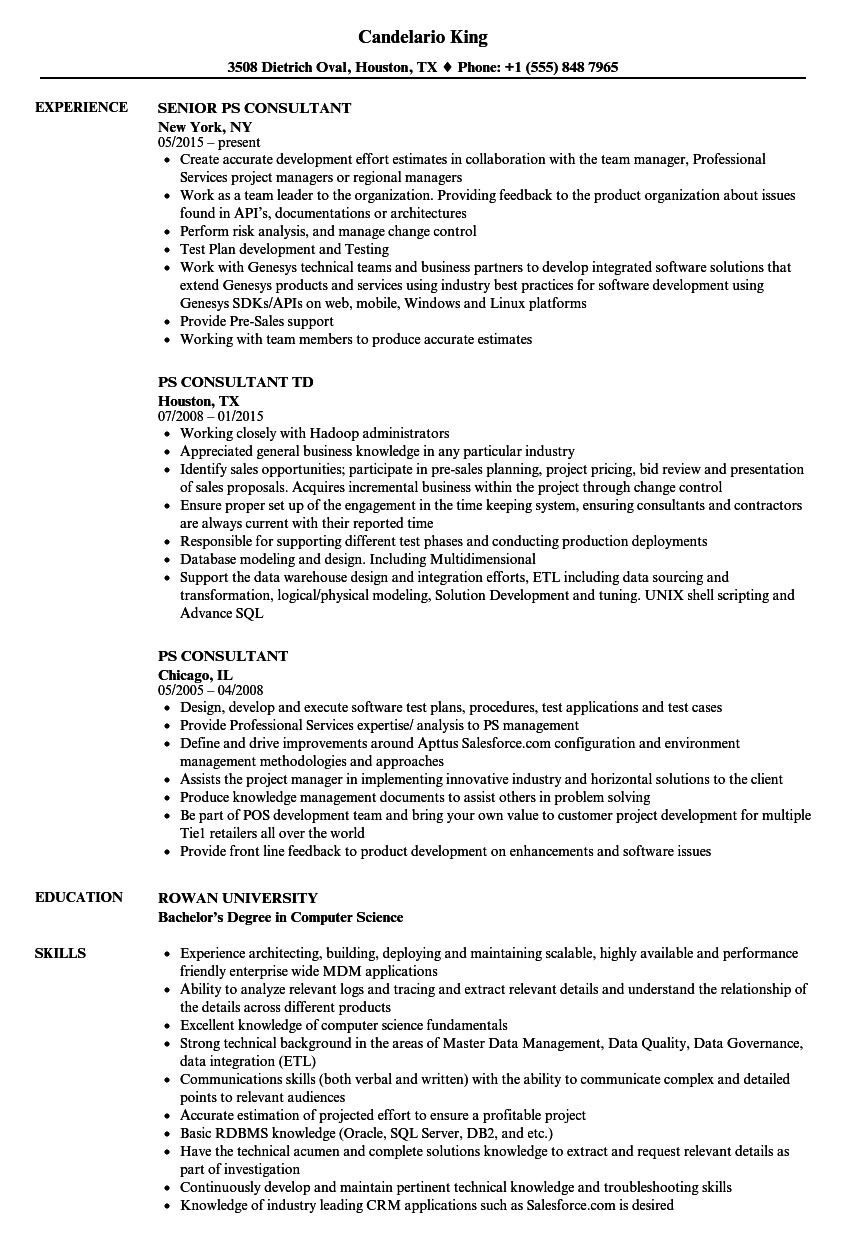 PS Consultant Resume Samples | Velvet Jobs