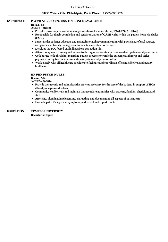 psych nurse resume samples