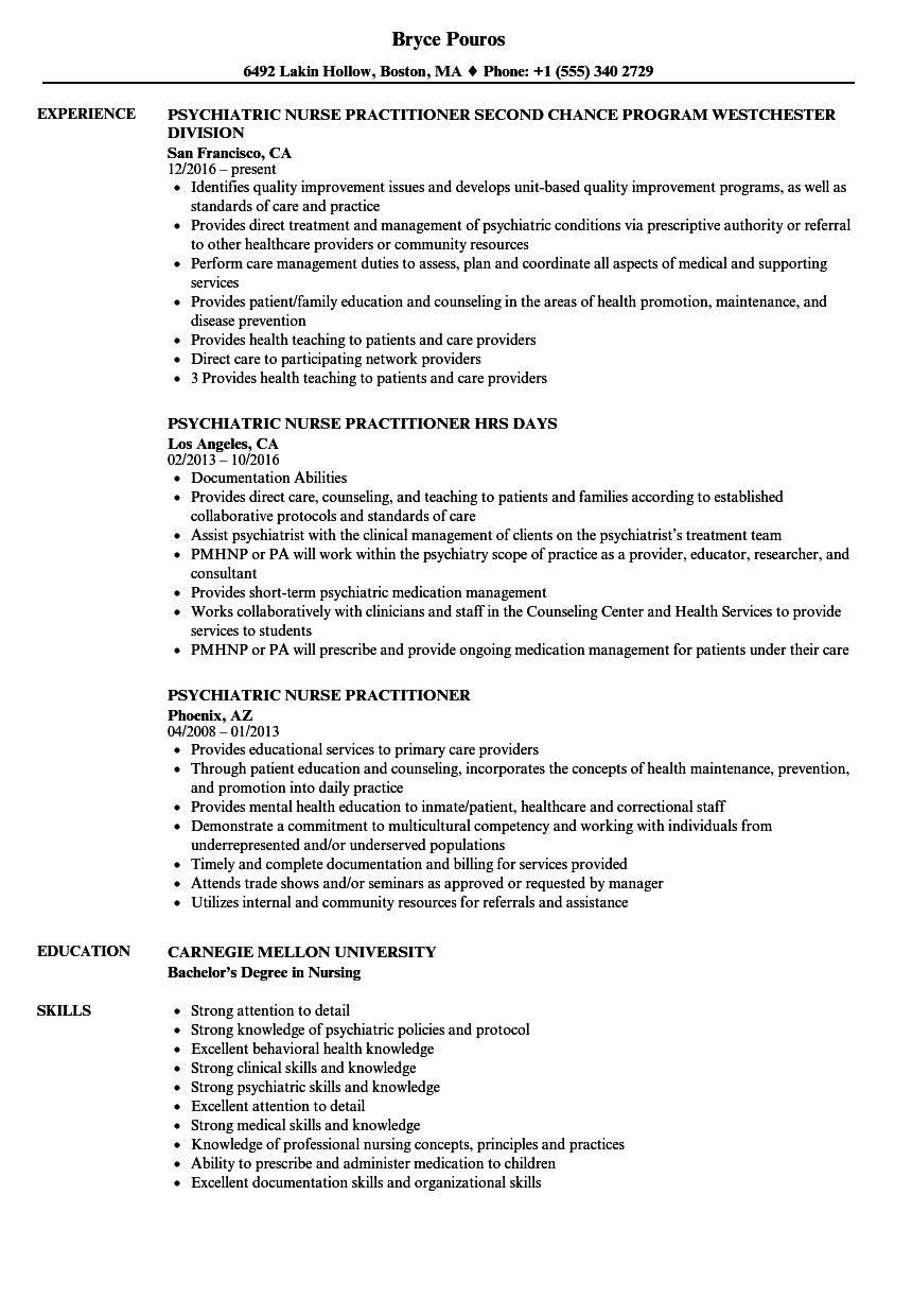psychiatric nurse practitioner resume samples velvet jobs