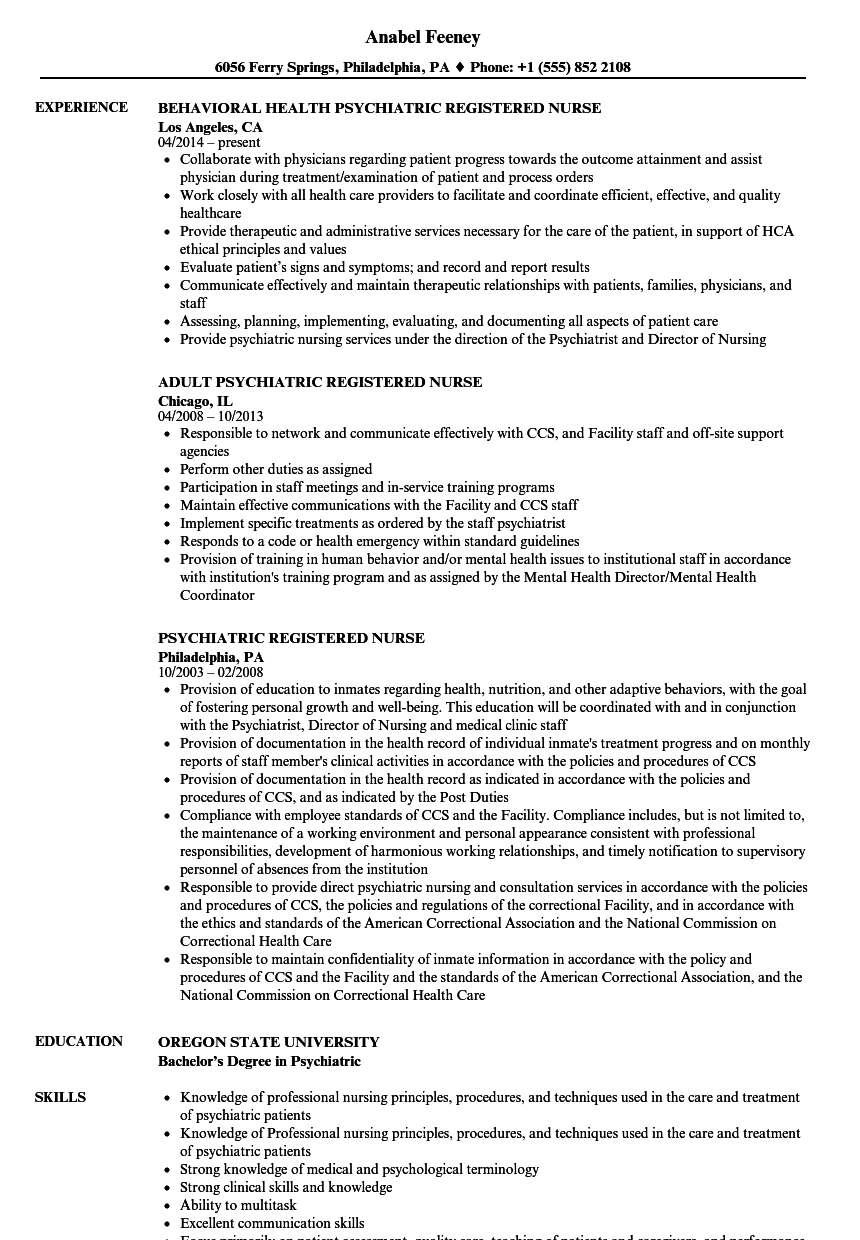 Psychiatric Registered Nurse Resume Samples