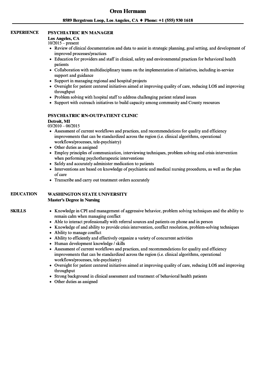Download Psychiatric RN Resume Sample As Image File  Psych Nurse Resume