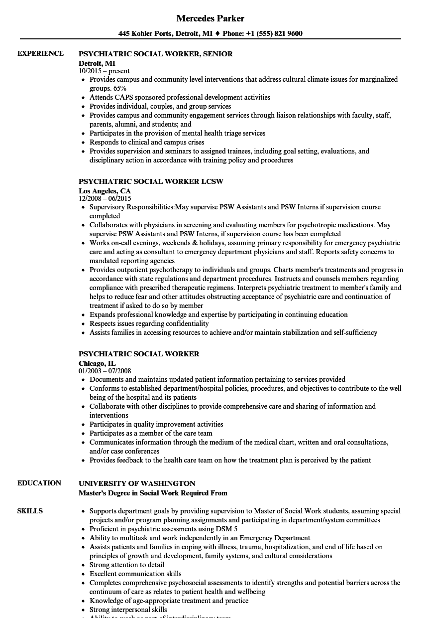 Psychiatric Social Worker Resume Samples | Velvet Jobs