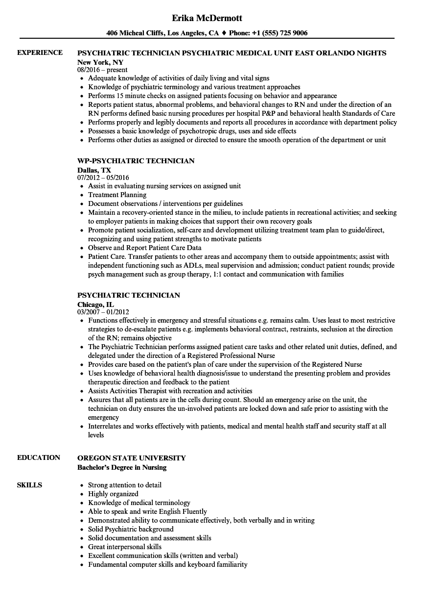 Psychiatric Technician Resume Samples | Velvet Jobs