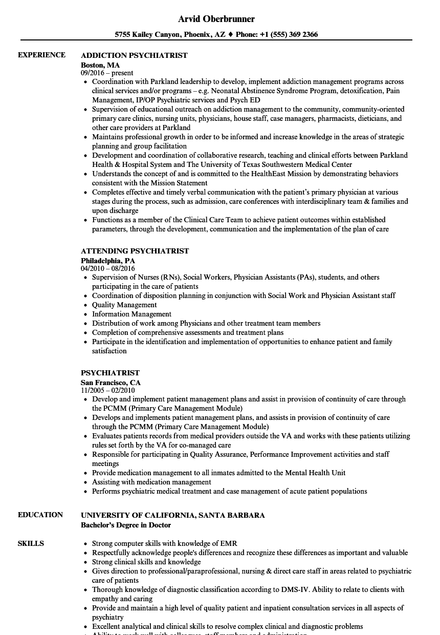 psychiatrist resume samples