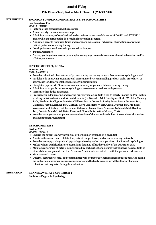 Psychometrist Resume Samples | Velvet Jobs