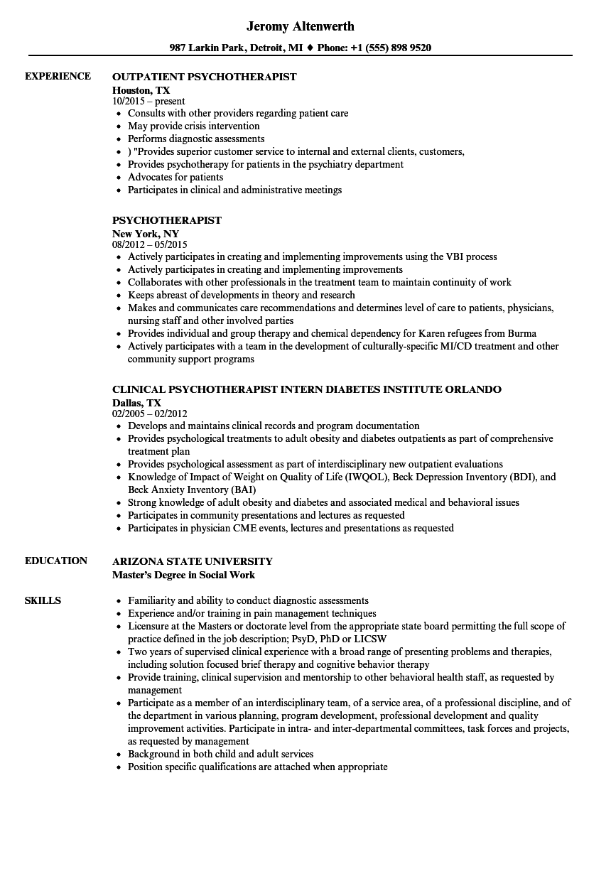 psychotherapist resume samples