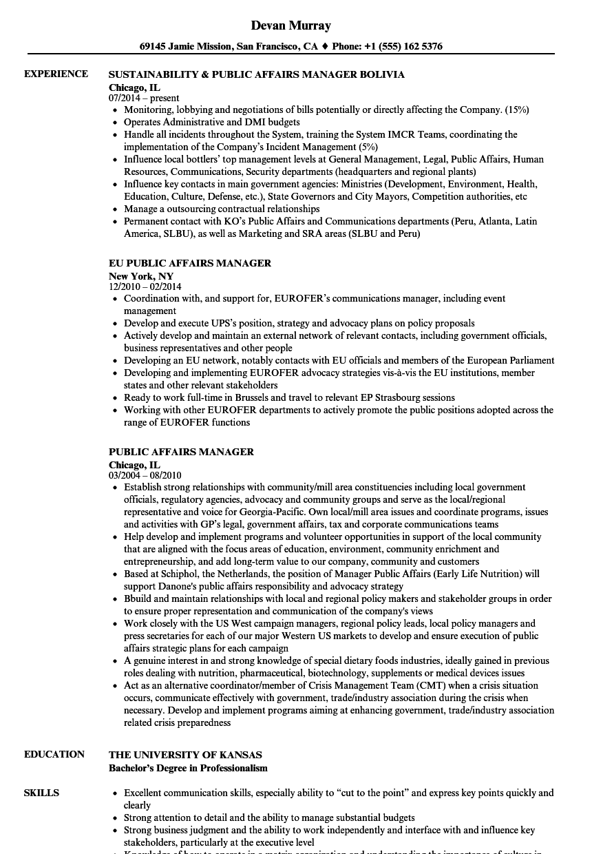 Public Affairs Manager Resume Samples | Velvet Jobs