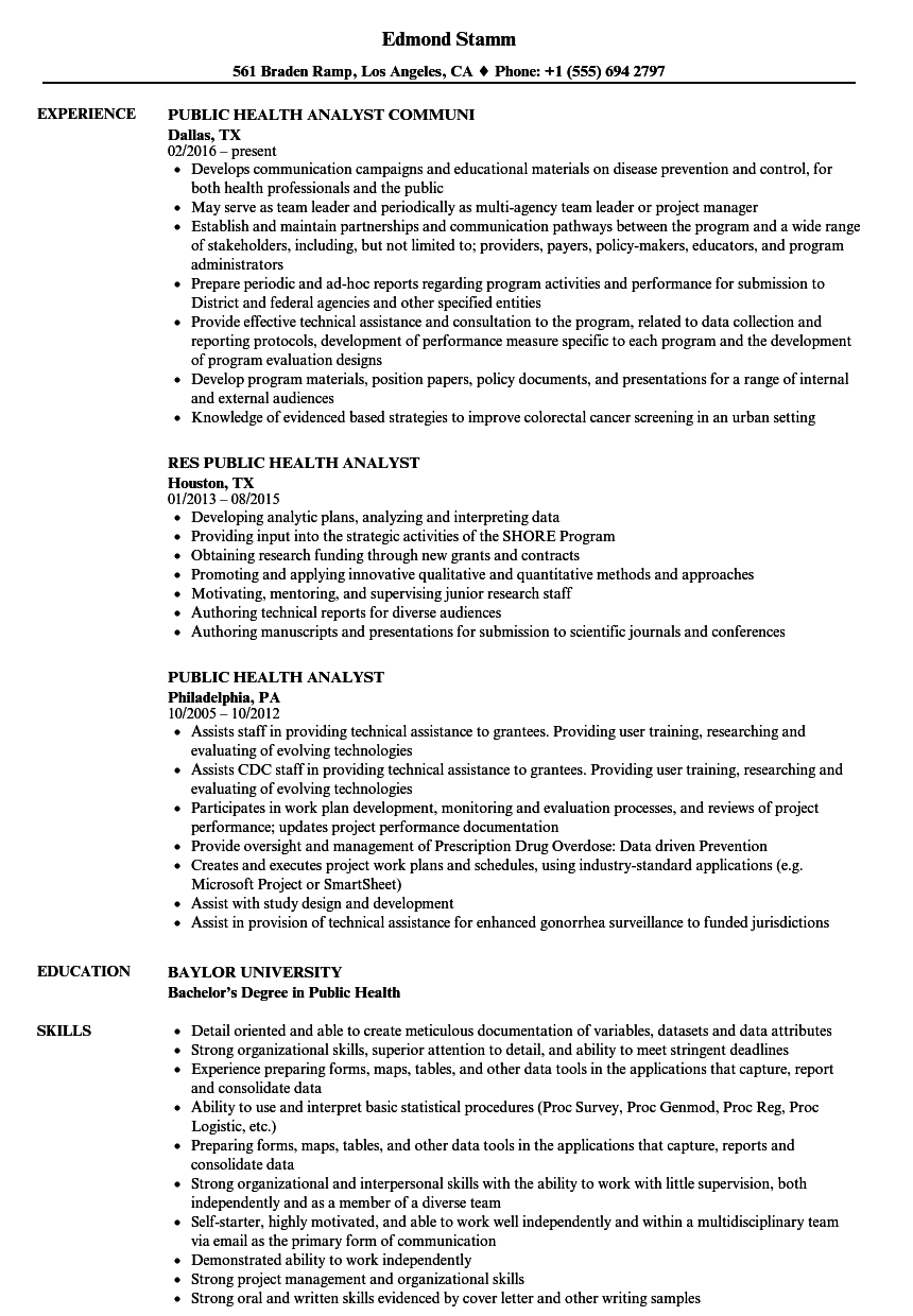 Public Health Analyst Resume Samples | Velvet Jobs