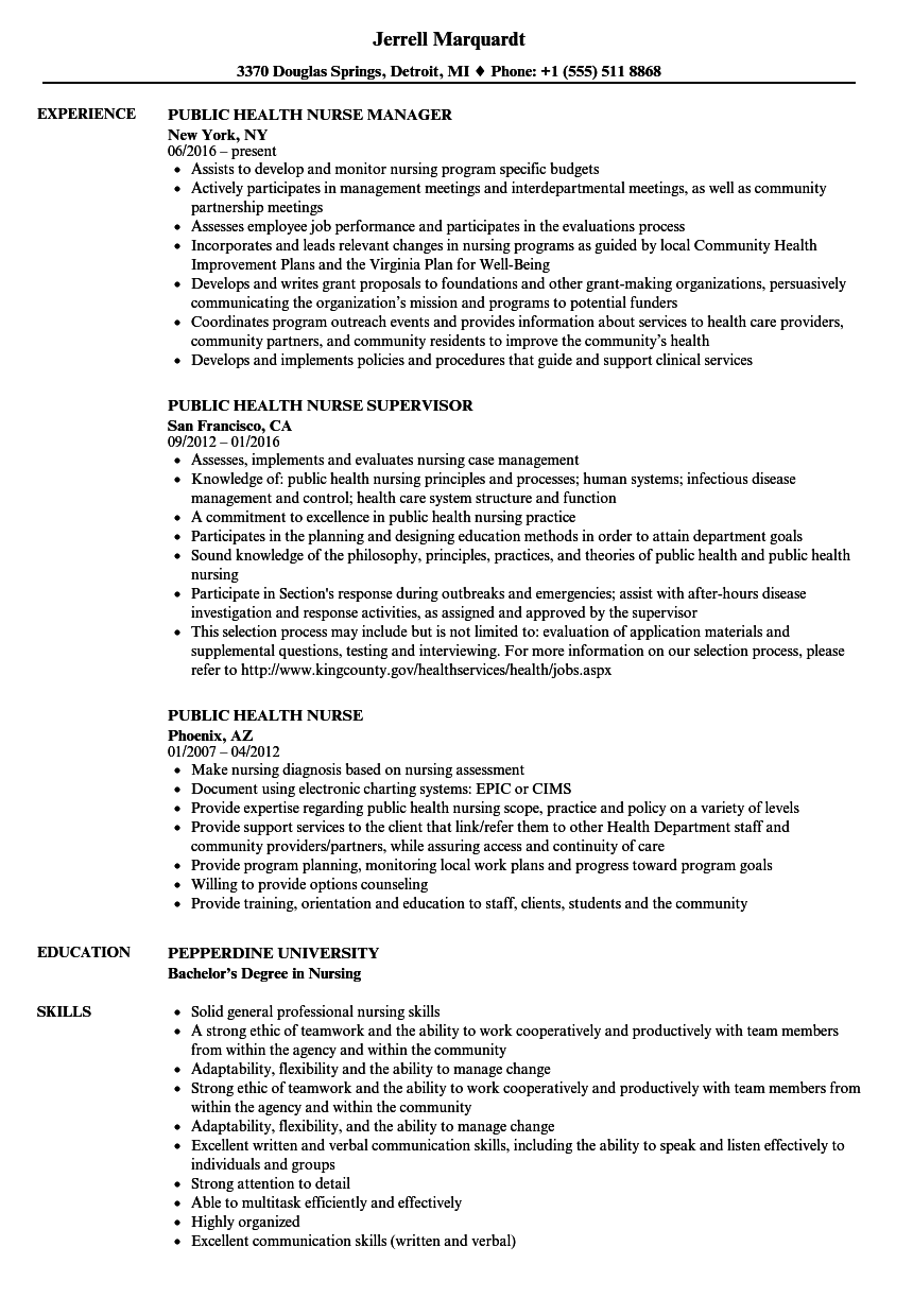 Public Health Nurse Resume Samples | Velvet Jobs