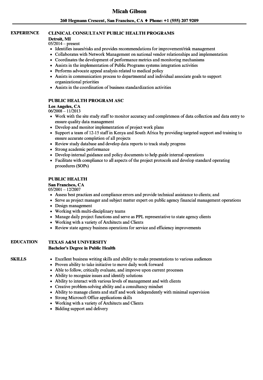 Public Health Resume Samples | Velvet Jobs