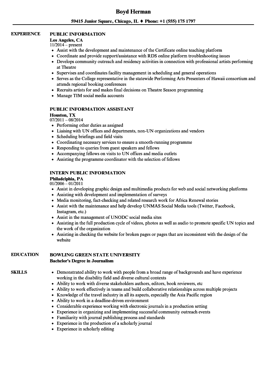public information resume samples