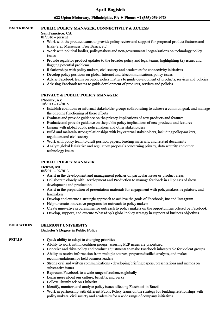 Public Policy Manager Resume Samples | Velvet Jobs