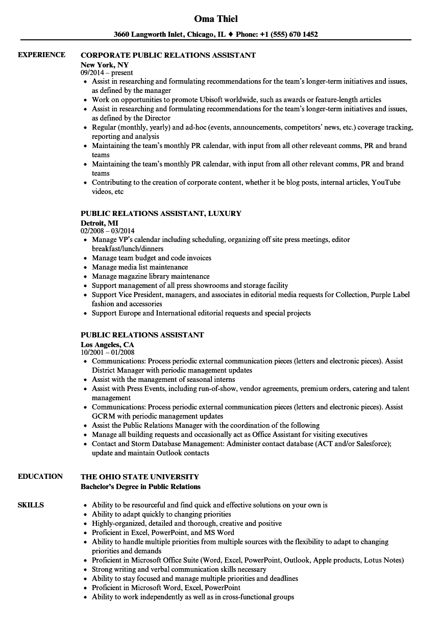 public relations assistant resume samples