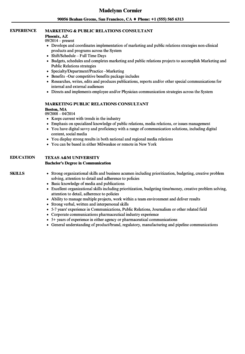 Download Public Relations Consultant Resume Sample As Image File