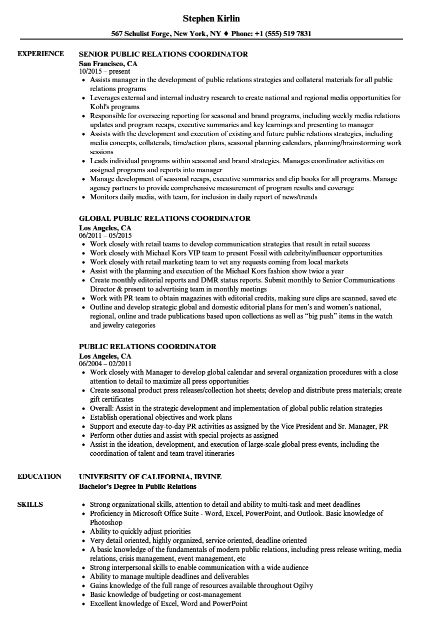 Public Relations Coordinator Resume Samples | Velvet Jobs