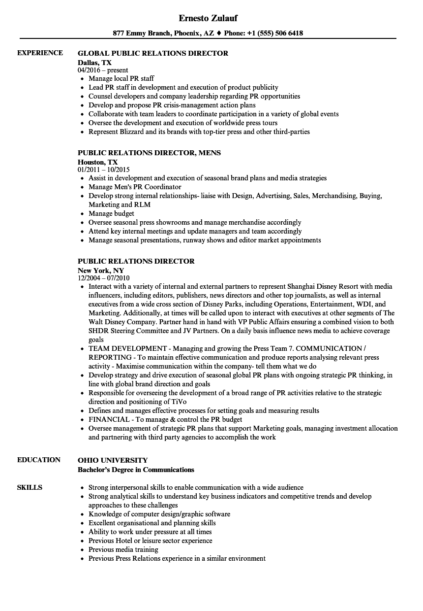 Download Public Relations Director Resume Sample As Image File