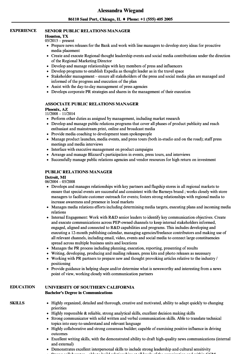public relations manager resume samples