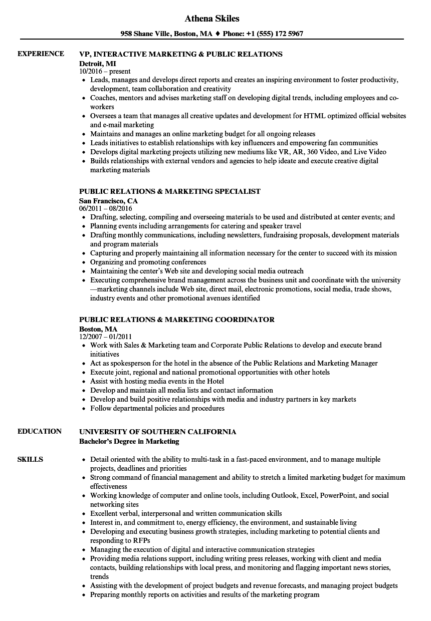 Public Relations Marketing Resume Samples Velvet Jobs