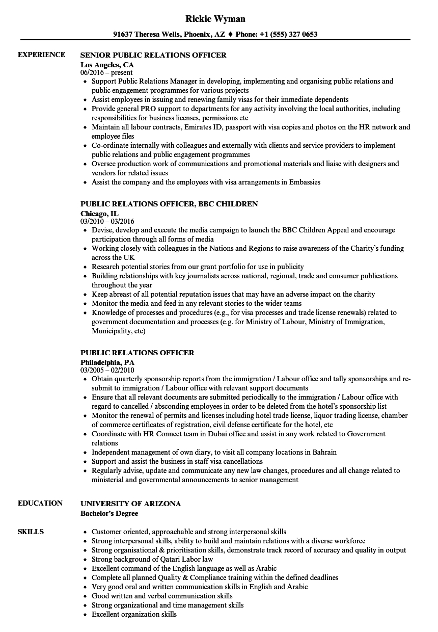 Public Relations Officer Resume Samples | Velvet Jobs