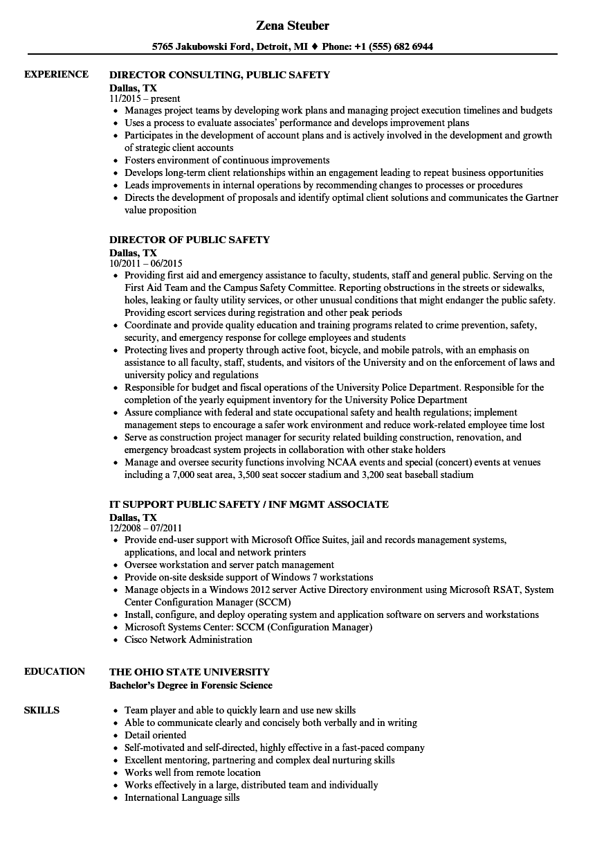 Public Safety Resume Samples Velvet Jobs