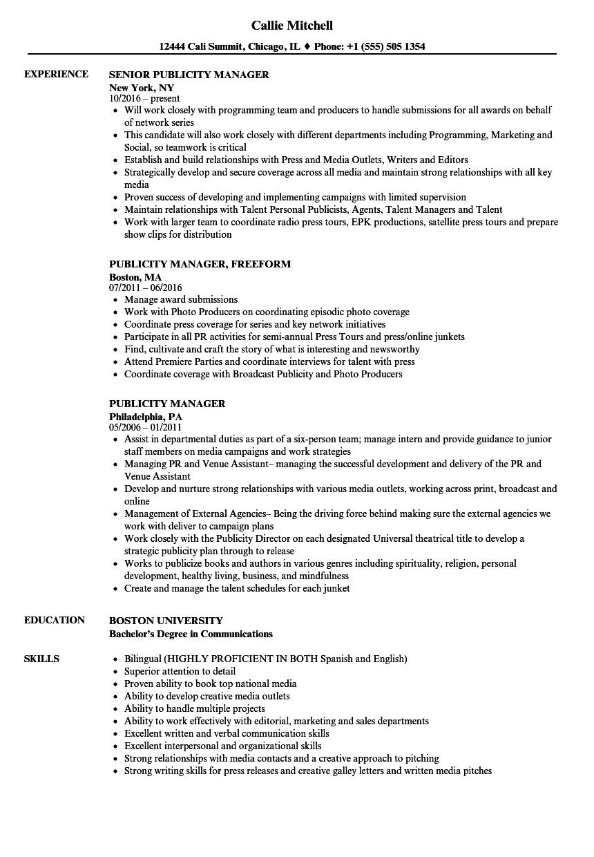 publicity manager resume samples