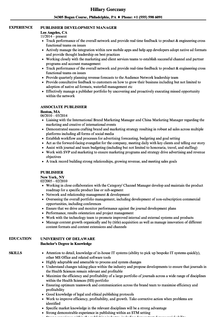 publisher resume samples
