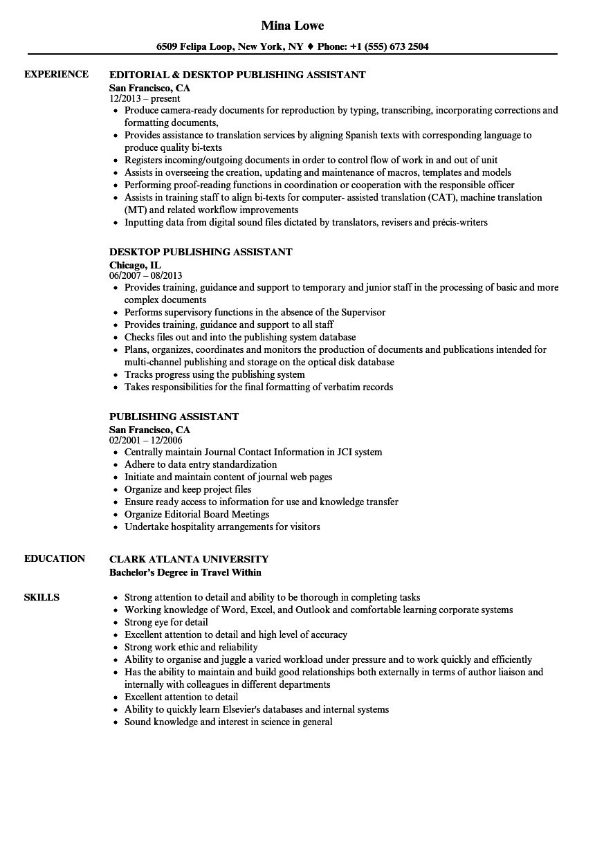 publishing assistant resume samples