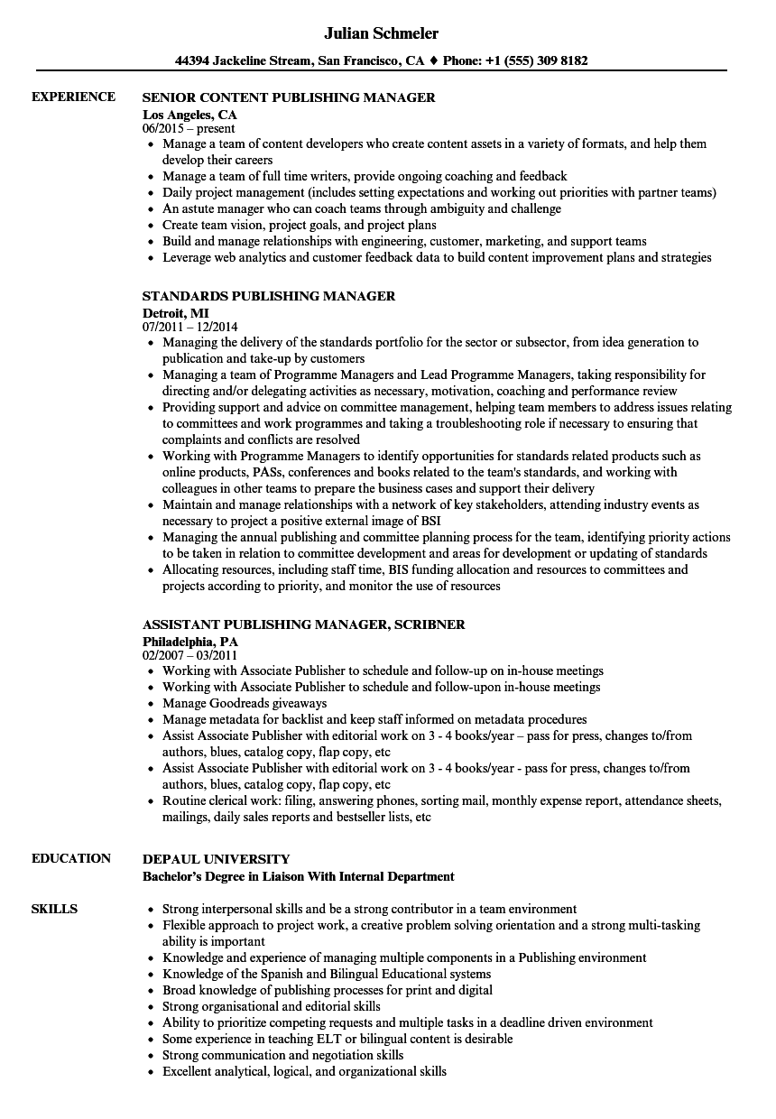 publishing manager resume samples