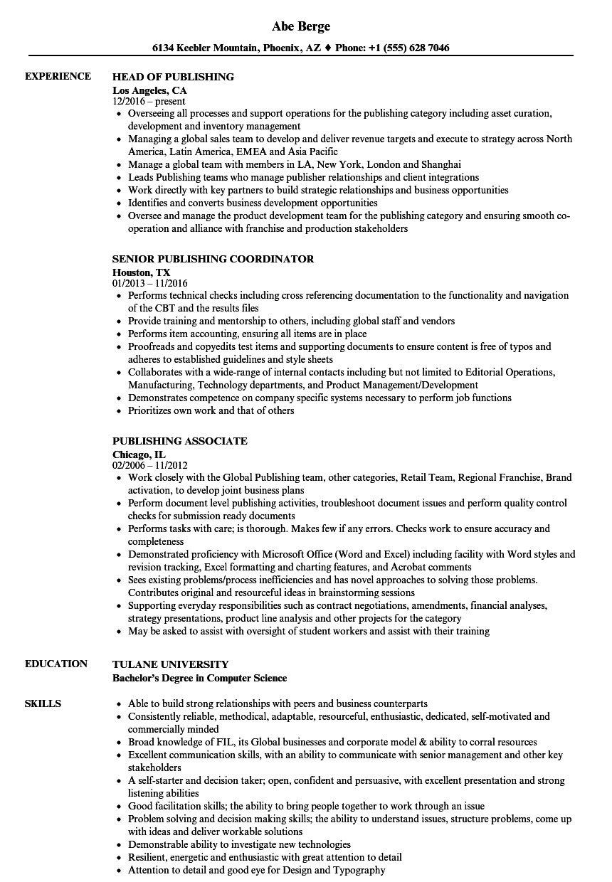 publishing resume samples velvet jobs