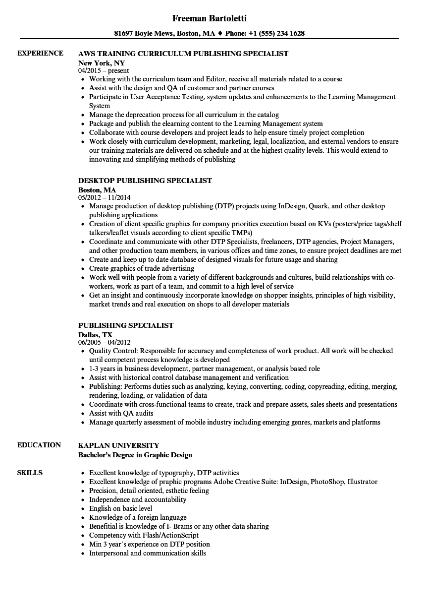 publishing specialist resume samples velvet jobs