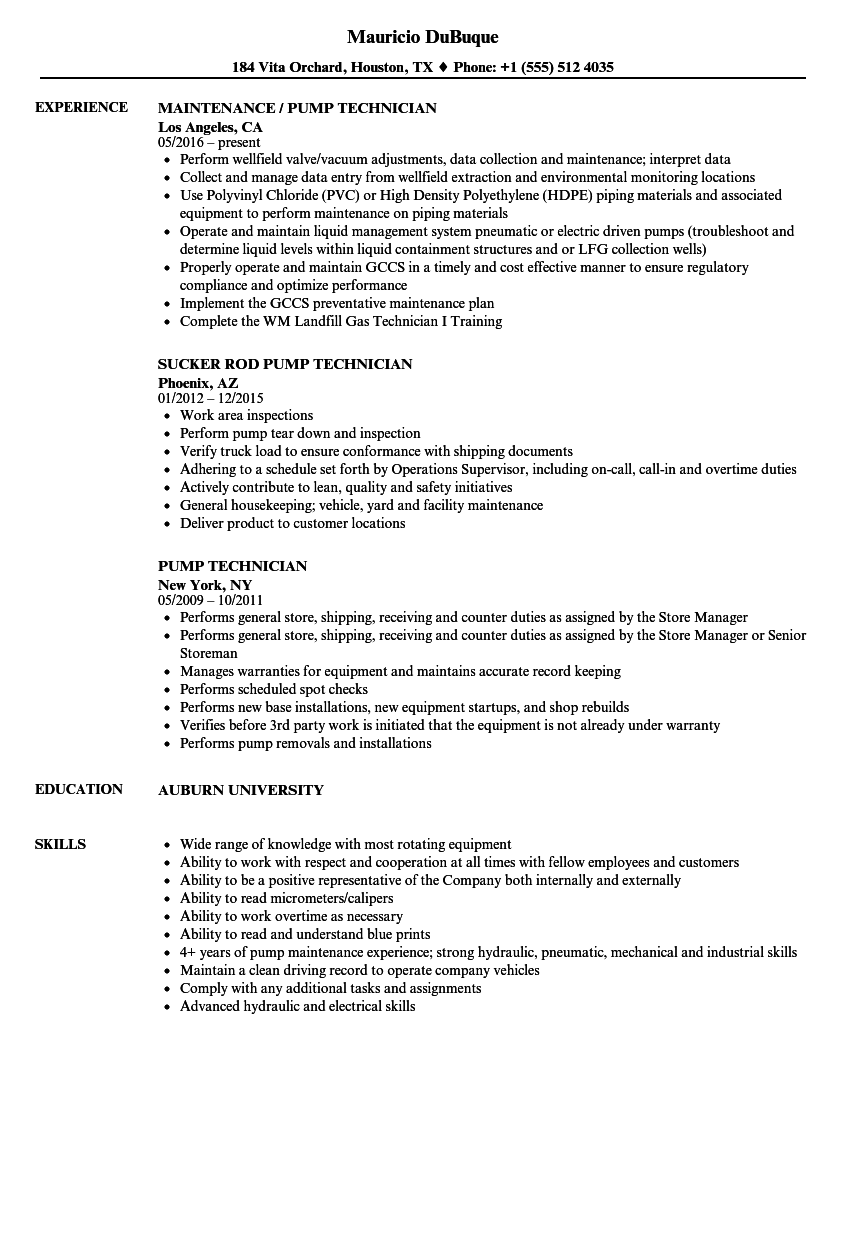 Pump Technician Resume Samples Velvet Jobs